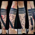 Crosses and Black Stripes Blackwork tattoo by Live Two