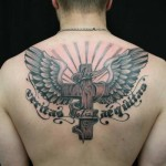 Crusifix Wings Veritas Aequitas Lettering tattoo by Skin Deep Art