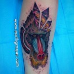 Crystal Space Babboon tattoo by Earth Gasper Tattoo