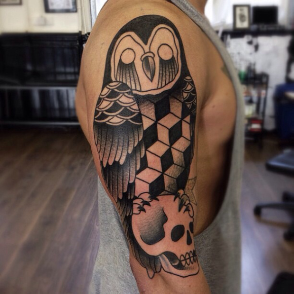 Cubes Owl on Scull Blackwork tattoo by Matt Cooley
