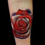 Cute Baseball Rose tattoo by Andres Acosta