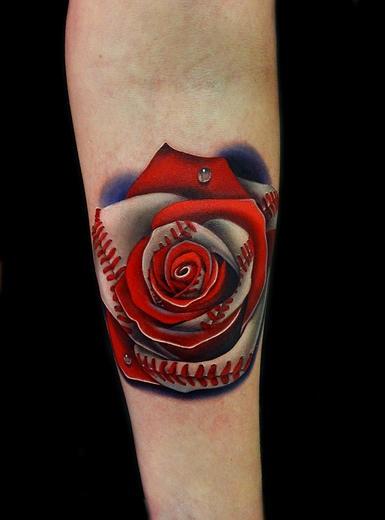 Cute baseball rose tattoo by andres acosta best tattoo for Baseball tattoo ideas
