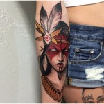 Cute Indian Girl tattoo by Chris Primm