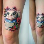Cute Maneki Neko tattoo by Sasha Unisex