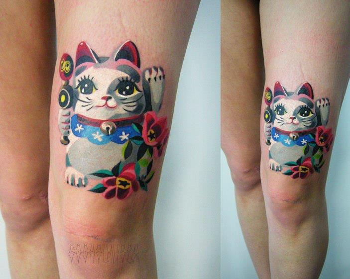 cute maneki neko tattoo by sasha unisex best tattoo ideas gallery. Black Bedroom Furniture Sets. Home Design Ideas