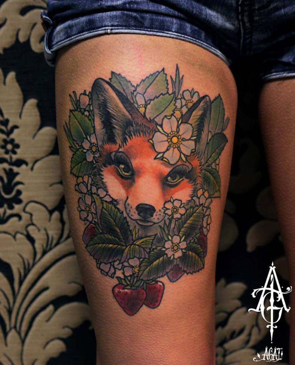 cute strawberry fox tattoo by agat artemji best tattoo ideas gallery. Black Bedroom Furniture Sets. Home Design Ideas