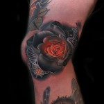 DNA Atom Rose tattoo by Andres Acosta