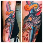 Dagger Stabbed Panther Old School tattoo on Arm by Three Kings Tattoo