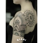 Dark Flowers and Mandala Dotwork tattoo by Elda Bernardes