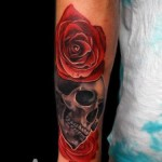 Dark Skull and Roses tattoo by Andres Acosta