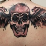 Dark Wings Skull tattoo by Tantrix Body Art