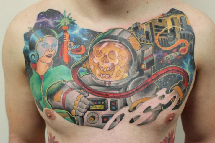 Dead Astronaut New School tattoo by Tantrix Body Art