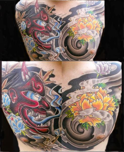 Demon Hannya Mask Chest tattoo by Transcend Tattoo