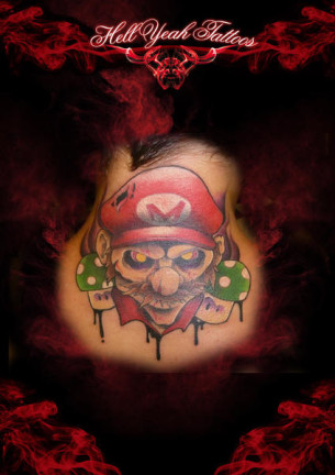 Demonic Mario tattoo by Hellyeah Tattoos