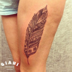 Detailed Ethnic Feather tattoo by Roony