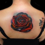 Dew Drops Rose Butterfly tattoo by Andres Acosta