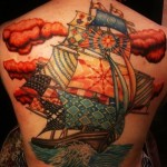 Different Sails Ship Nautical tattoo on Back