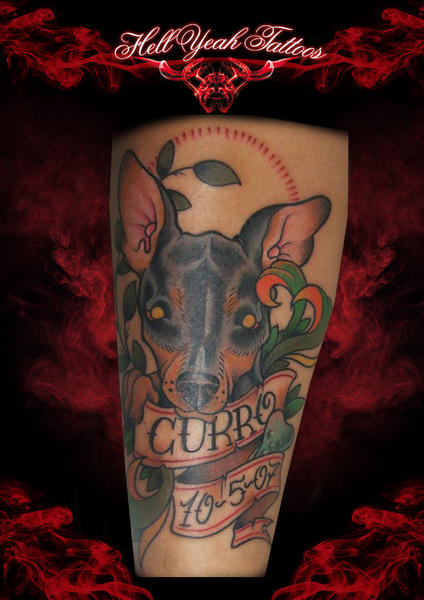 Dog Curro Lettering tattoo by Hellyeah Tattoos