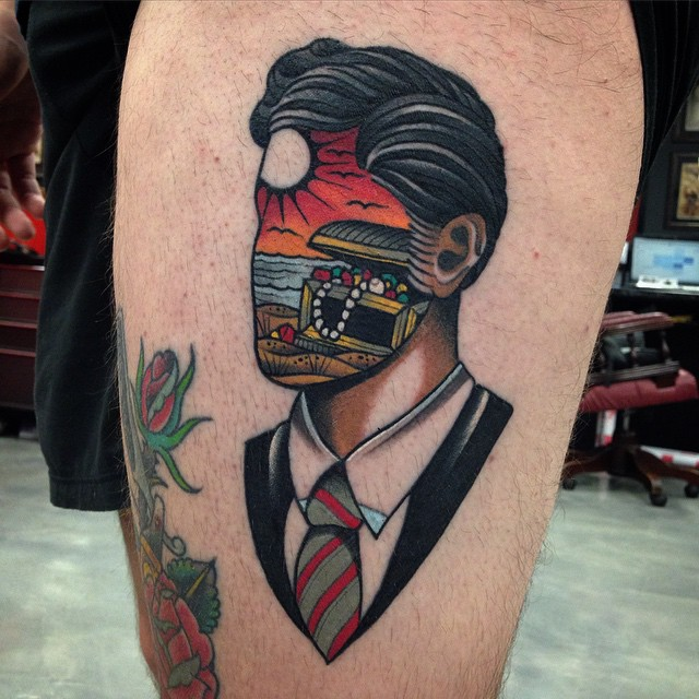 Dream of Treasure Face New School tattoo by Wa Ink Tattoo