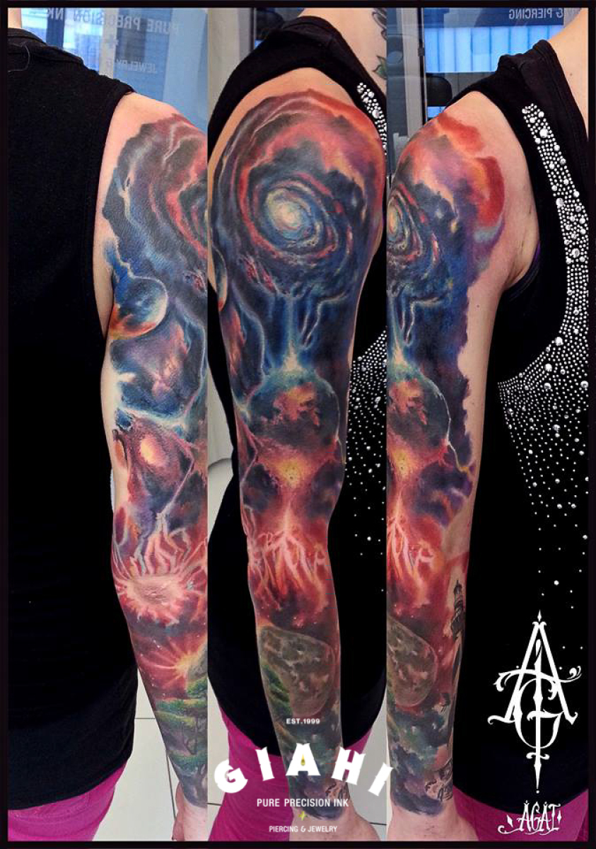 Dying Galaxy tatoo sleeve by Agat Artemji