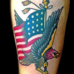 Eagle and American Flag tattoo by Jack Gallowtree