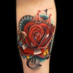Elephant Circus Rose tattoo by Andres Acosta