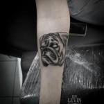 Empty Eyes Bulldog Dotwork tattoo by Ien Levin