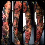 Epic Santa Muerte tattoo sleeve by Max Pniewski