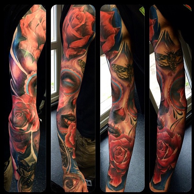 Epic Chicano tattoo sleeve by Max Pniewski
