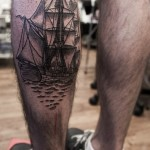 Etching Sailing Ship Nautical tattoo on Leg