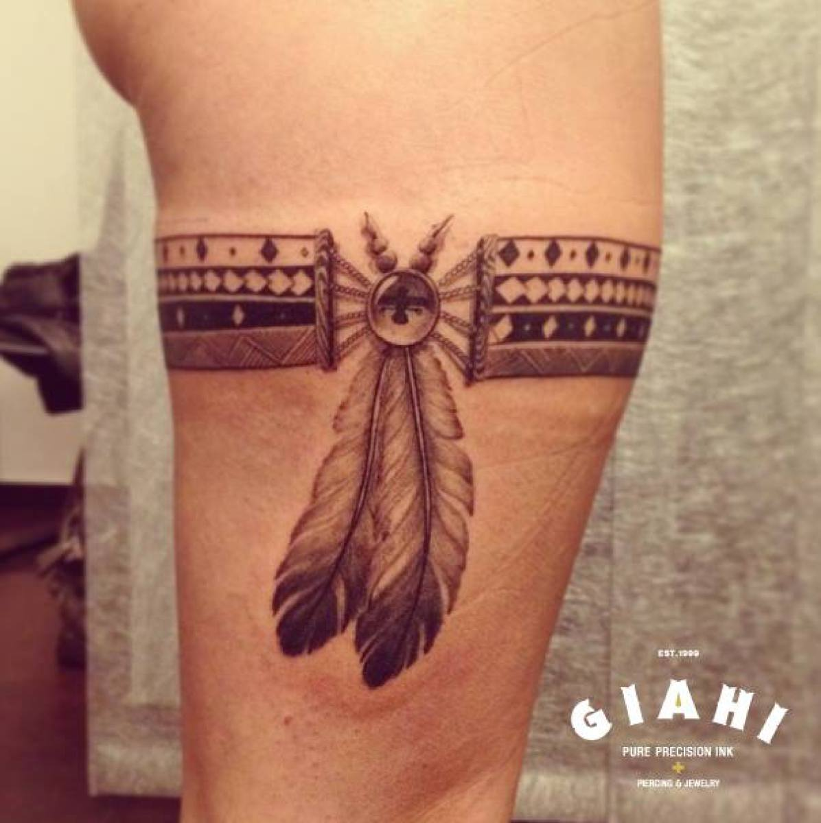 Ethnic Feather Garter tattoo by Roony