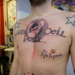Eye Heart Lettering Chest tattoo by Xoïl