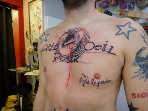 Eye Heart Lettering Chest tattoo by Xoïl