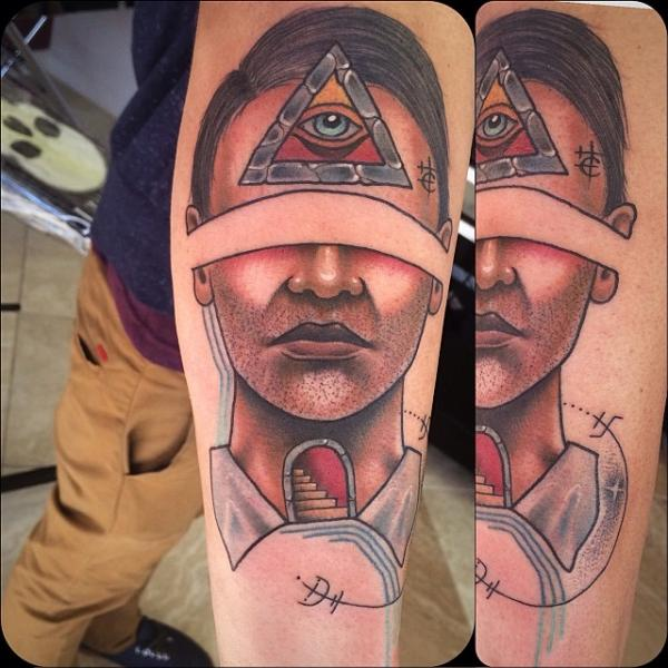 Eye of providence unshaved face tattoo by earth gasper for Crystal eye tattoos