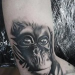Eye Reflection Chimp Realistic tattoo by Goran Petrovic