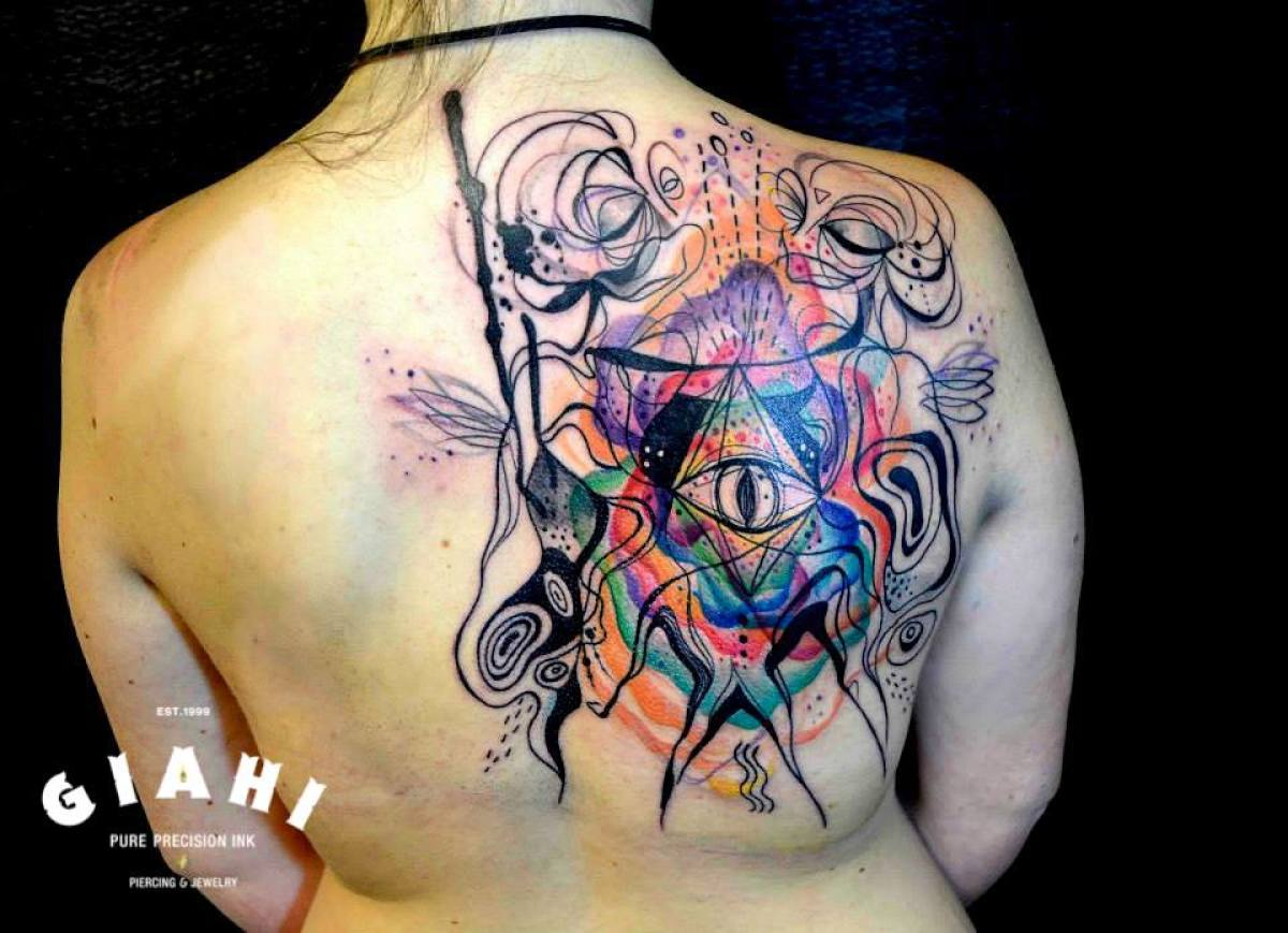 Eye of Providence Abstraction Aquarelle tattoo by Petra Hlavàckovà