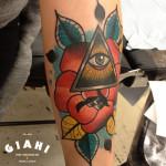 Eye of Providence Rose tattoo by Elda Bernardes