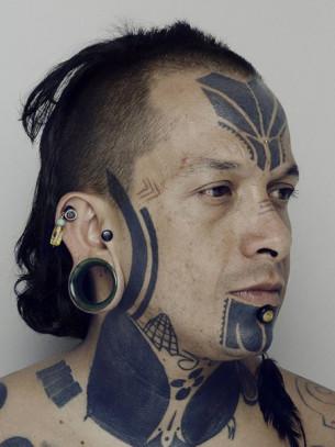 Face Ethnic Blackwork tattoo