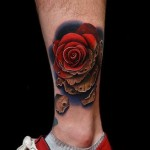 Fading Dying Rose tattoo by Andres Acosta