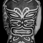 Fangs Demon Full Back Blackwork tattoo