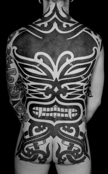 Fangs Demon Full Back Blackwork tattoo