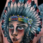 Fat Cheeks  Indian Girl Old School tattoo by Nick Baldwin