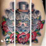 Fat Clever Cat Old School tattoo by Elda Bernardes