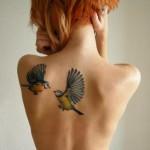 Fighting Titmouse tattoo by Sasha Unisex
