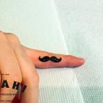 Finger Mustache Blackwork tattoo by Roony
