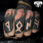 Finger Runes Blackwork tattoo Lettering
