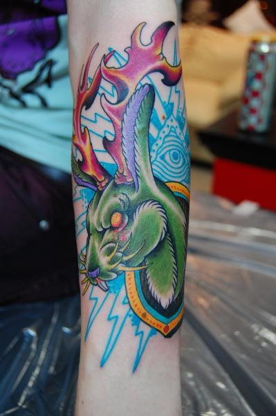 Fire Antlers Green Hare tattoo by Illsynapse