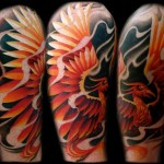 Fire Bird Black Background tattoo by Transcend Tattoo