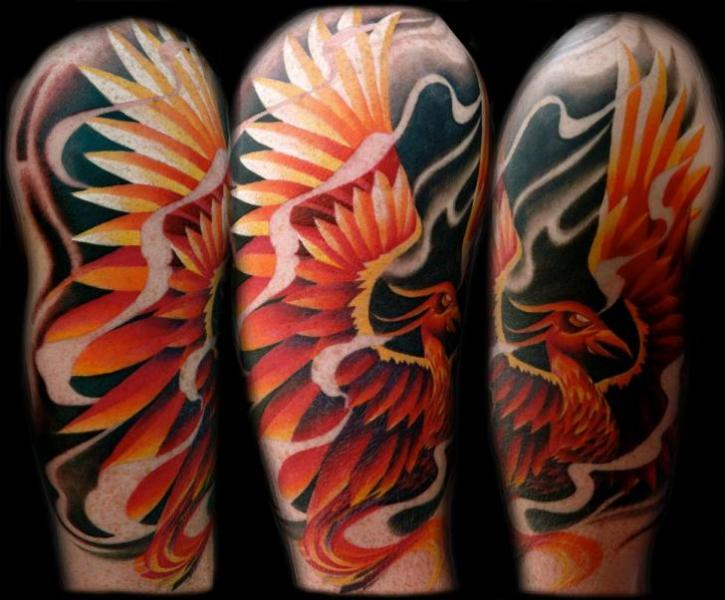 Fire Bird Black Background tattoo by Transcend Tattoo
