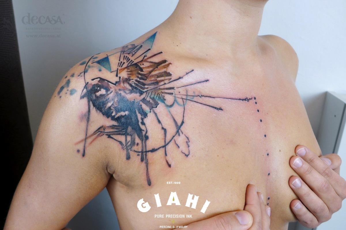 Flowed Sparrow tattoo by Carola Deutsch